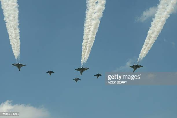 Indonesia's F16 fighter and Sukhoi jets perform a flyby during the Indonesian Independence day ceremony in Jakarta on August 17 2016 Indonesia marked...