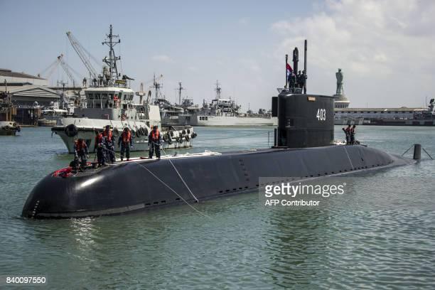 Indonesia's latest submarine KRI Nagapasa 403 arrives at the naval port in Surabaya on August 28, 2017. Nagapasa 403 is the third submarine in the...