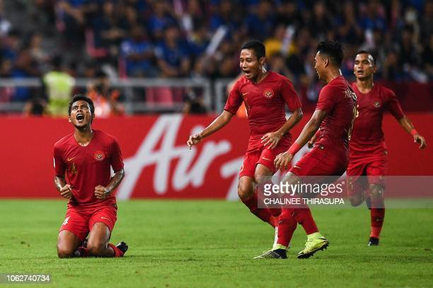 Indonesia's midfielder Zulfiandi Zulfiandi celebrates after scoring a goal during the AFF Suzuki Cup 2018 football match between Indonesia and...