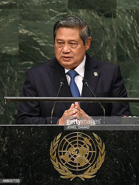 Indonesia's President Susilo Bambang Yudhoyon speaks during the 69th Session of the UN General Assembly at the United Nations in New York on...