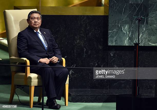 Indonesia's President Susilo Bambang Yudhoyon waits to speak during the 69th Session of the UN General Assembly at the United Nations in New York on...