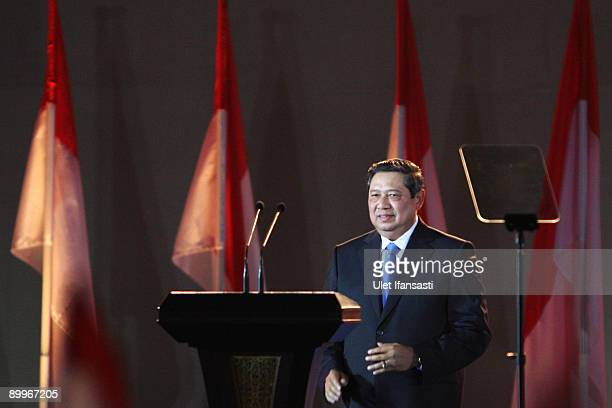 Indonesia's President Susilo Bambang Yudhoyono gives a victory speech during official celebrations marking the confirmation of his reelection on...
