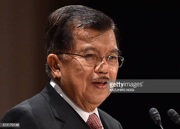 Indonesia's Vice President Jusuf Kalla delivers a speech at the 21st International Conference of The Future of Asia at a hotel in Tokyo on May 21,...