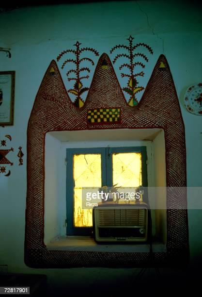 Indoor Berber decorative pattern through filtered light April 2000 in Ghadames Libya