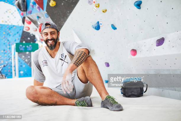 indoor climber portrait. - chalk bag stock pictures, royalty-free photos & images