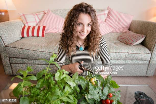 indoor gardening - permed hair stock photos and pictures