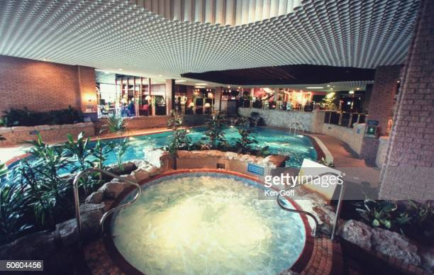 Indoor Jacuzzi swimming pool where England's Princess Diana Fergie Duchess of York once swam relaxed at modern Craigendarroch Hotel nr Balmoral estate
