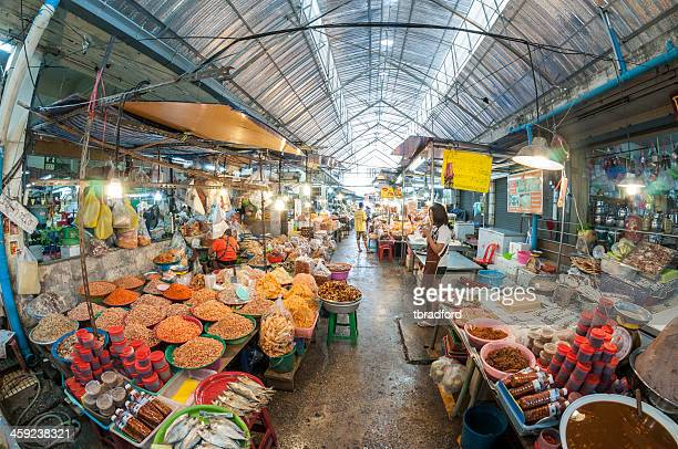 indoor market in hua hin, thailand - hua hin thailand stock pictures, royalty-free photos & images
