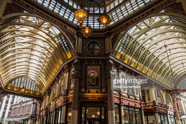 indoor passage in leadenhall market, london, england - leadenhall market stock photos and pictures