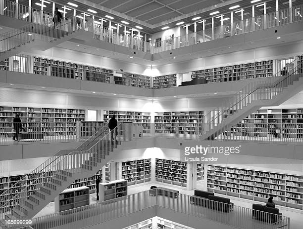 Indoor photo of the new city library in Stuttgart, Germany which opened on 14th October 2011. Visitors have about 500,000 books, films, sound...