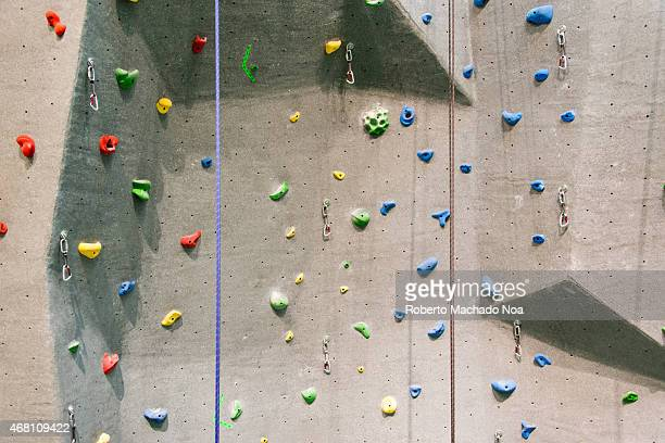 ONTARIO TORONTO ONTARIO CANADA Indoor rock climbing wall in a sport facility where many practice to be fit and get in better health