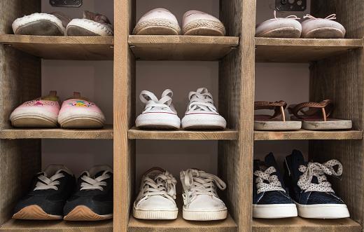 Indoor Shoe Rack of sneakers lovers shoes. 1003735800