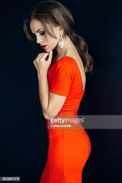 indoor shot of young beautiful woman - earring stock pictures, royalty-free photos & images