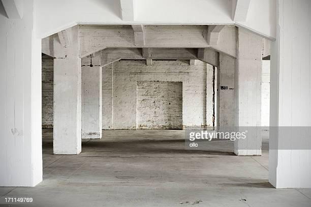 Indoor shot, old abandoned factory building