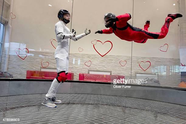 Indoor skydiver practising the freefall scenario