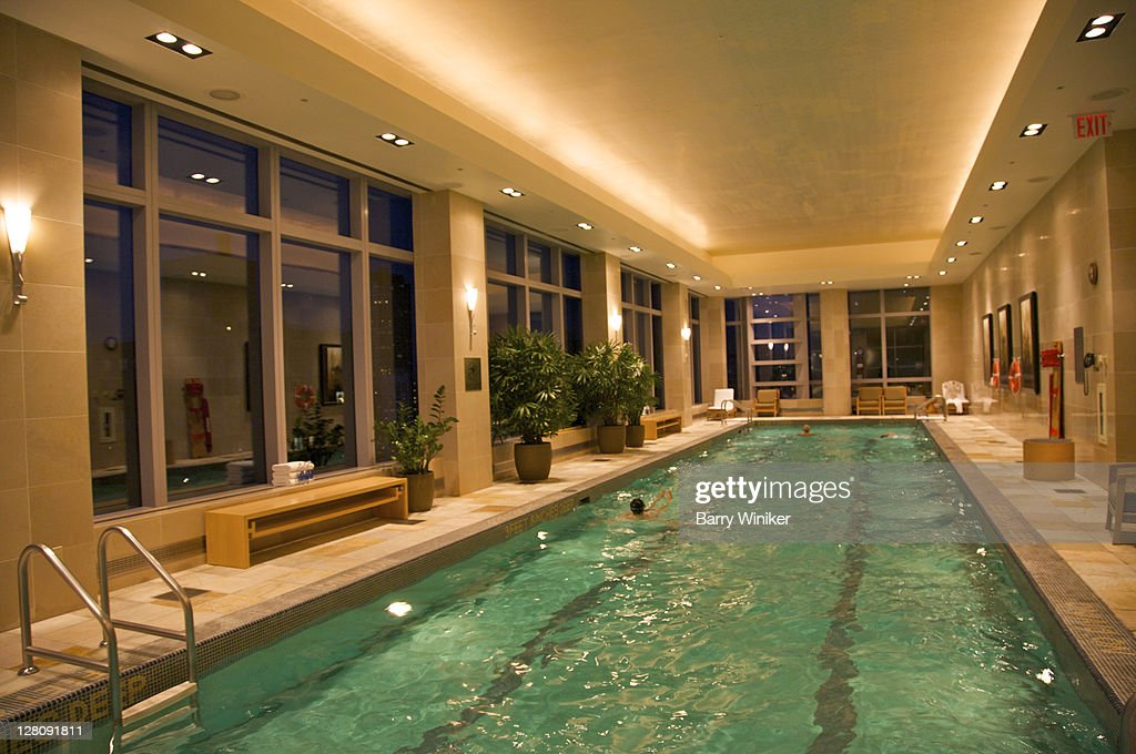 Indoor Swimming Pool Atop Mandarin Oriental Hotel In Time Warner Center Upper West Side New York Ny Usa High Res Stock Photo Getty Images