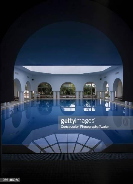 Indoor swimming pool, hotel Aziza, city of Hammamet, Tunisia.