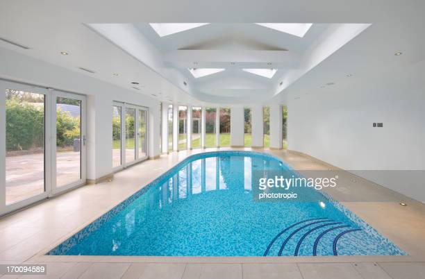 Indoor swimming pool in patio setting
