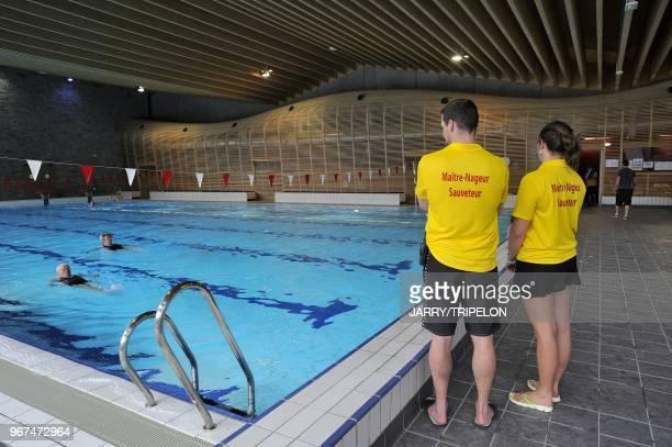 Indoor swimming pool Morzine ski resort Portes du Soleil skiing area region of Chablais HauteSavoie department RhoneAlpes region France