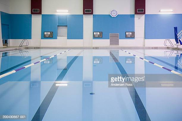 Indoor swimming pool with lane markers