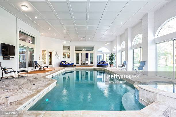 Indoor Swimming Pool with Spa at Estate Home