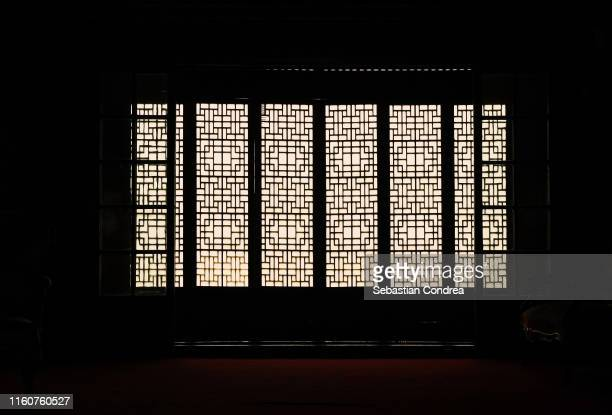 indoor view with window at gyeonbokgung palace in seoul, south korea discovery seoul, korea - korean culture stock pictures, royalty-free photos & images