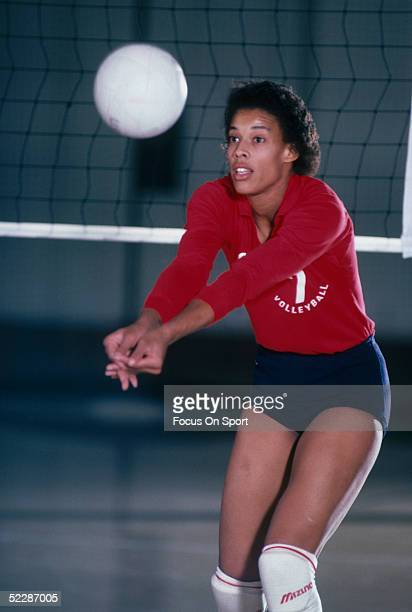 Indoor Voleyball player Flora Hymen returns a serve Flora Hymen was a pioneer in women's voleyball