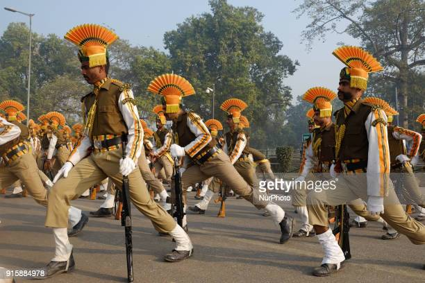 Indo-Tibetan Border Police practice stretching excercises while rehearsing for the upcoming 69th Republic Day Parade in New Delhi on January 13, 2018.