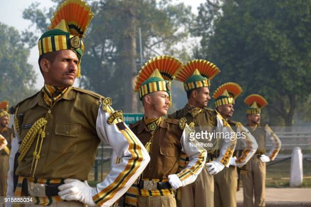 Indo-Tibetan Border Police soldiers excercise during rehearsals for the upcoming 69th Republic Day Parade in New Delhi on January 13, 2018.