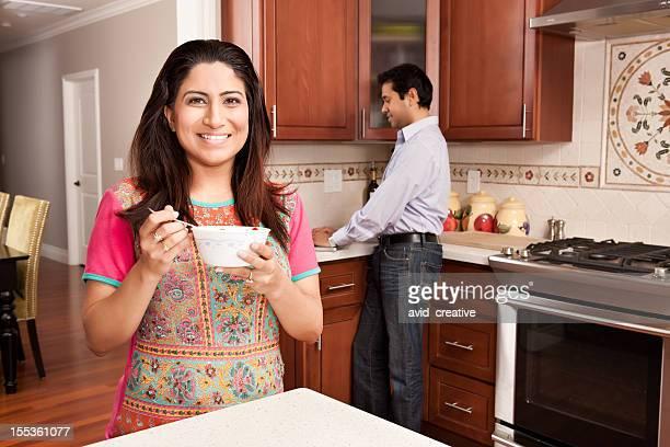 Indowestern Woman Eating Breakfast at Home