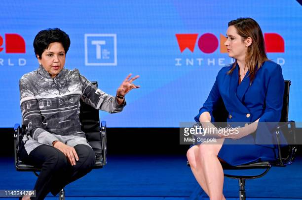 Indra Nooyi and Margaret Brennan speak during the 10th Anniversary Women In The World Summit at David H Koch Theater at Lincoln Center on April 12...