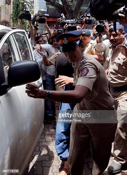Indrani Mukerjea at Khar police station after being interrogated by Mumbai Police Commissioner Rakesh Maria in connection with the April 2012 Sheena...