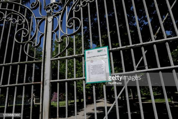 Indro Montanelli park in Porta Venezia closed due to the anticovid19 decree in Milan Italy during the lockdown due to Coronavirus emergency on April...