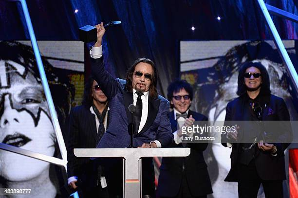 Inductee Ace Frehley of KISS speaks onstage at the 29th Annual Rock And Roll Hall Of Fame Induction Ceremony at Barclays Center of Brooklyn on April...