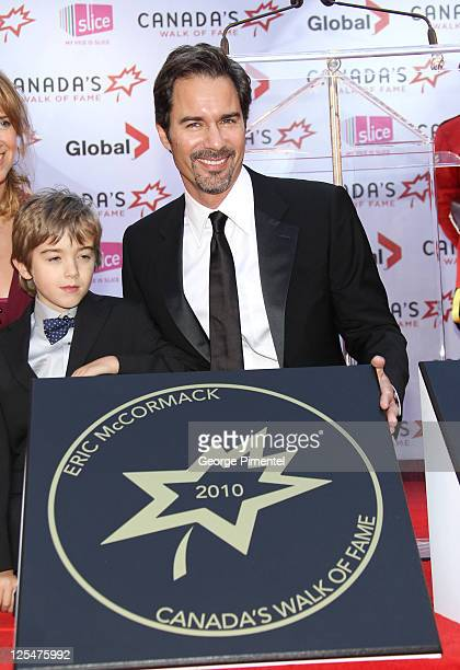 Inductee actor Eric McCormack and son Finnigan McCormack attend Canada's Walk of Fame at the Canon Theatre on October 16 2010 in Toronto Canada