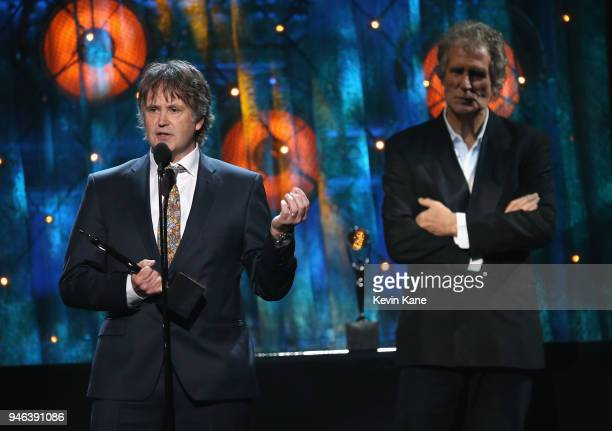 Inductee Alan Clark of Dire Straits speaks onstage during the 33rd Annual Rock Roll Hall of Fame Induction Ceremony at Public Auditorium on April 14...