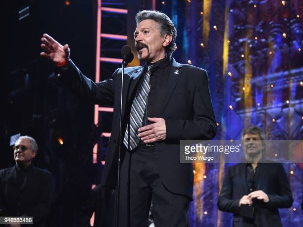 Inductee Alec John Such of Bon Jovi speaks onstage during the 33rd Annual Rock Roll Hall of Fame Induction Ceremony at Public Auditorium on April 14...