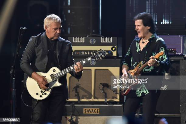 Inductee Alex Lifeson of Rush and 2017 Inductee Trevor Rabin pf Yes onstage at the 32nd Annual Rock Roll Hall Of Fame Induction Ceremony at Barclays...