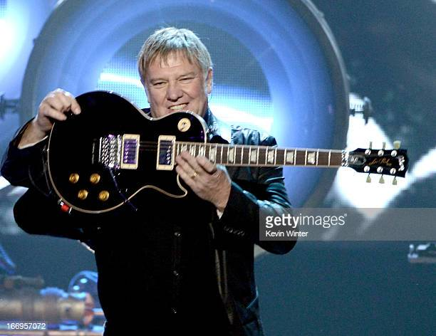 Inductee Alex Lifeson of Rush performs onstage at the 28th Annual Rock and Roll Hall of Fame Induction Ceremony at Nokia Theatre LA Live on April 18...