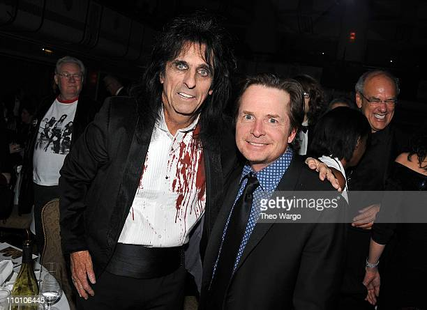 Inductee Alice Cooper and Michael J Fox attend the 26th annual Rock and Roll Hall of Fame Induction Ceremony at The Waldorf=Astoria on March 14 2011...