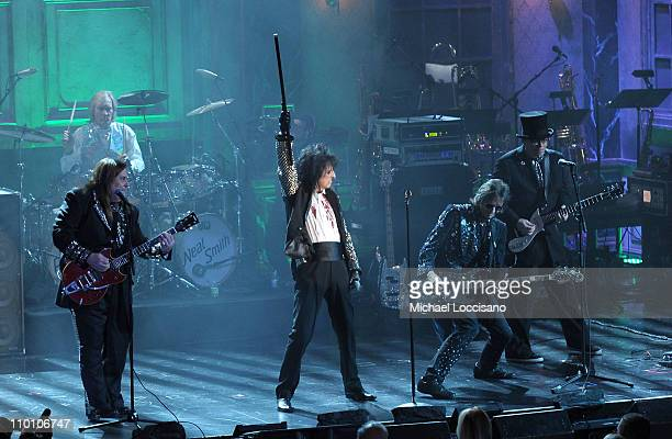 Inductee Alice Cooper Band and musician Rob Zombie perform onstage at the 26th annual Rock and Roll Hall of Fame Induction Ceremony at The...