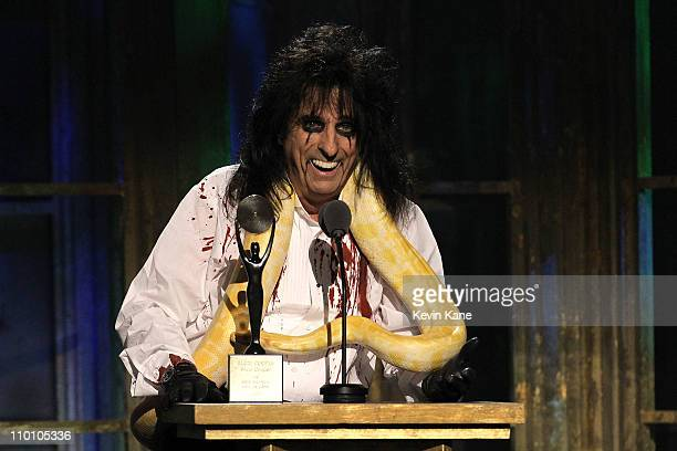 Inductee Alice Cooper speaks onstage at the 26th annual Rock and Roll Hall of Fame Induction Ceremony at The Waldorf=Astoria on March 14 2011 in New...