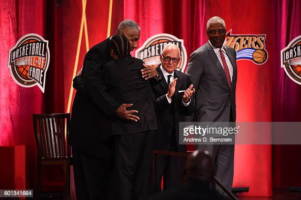 Inductee Allen Iverson hugs former Georgetown Head Coach John Thompson during the 2016 Basketball Hall of Fame Enshrinement Ceremony on September 9...