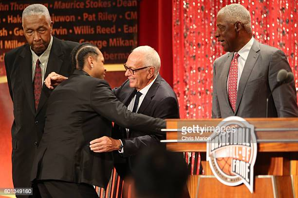 Inductee Allen Iverson hugs former Philadelphia 76ers head coach Larry Brown during the 2016 Basketball Hall of Fame Enshrinement Ceremony on...