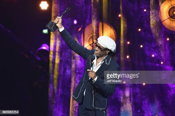 Inductee and producer Nile Rodgers speaks onstage at the 32nd Annual Rock Roll Hall Of Fame Induction Ceremony at Barclays Center on April 7 2017 in...