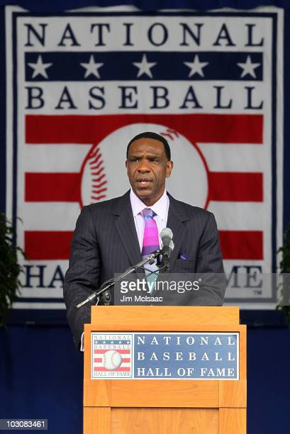 Inductee Andre Dawson gives his speech at Clark Sports Center during the Baseball Hall of Fame induction ceremony on July 25, 20010 in Cooperstown,...