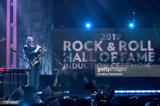 Inductee Andy Mackay of Roxy Music performs at the 2019 Rock Roll Hall Of Fame Induction Ceremony Show at Barclays Center on March 29 2019 in New...