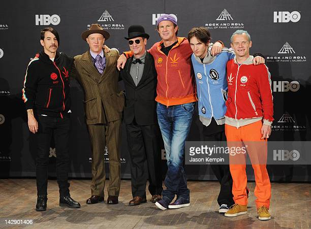 Inductee Anthony Kiedis Jack Irons Cliff Martinez Chad Smith Josh Klinghoffer and Michael Balzary aka Flea of Red Hot Chili Peppers speak in the...