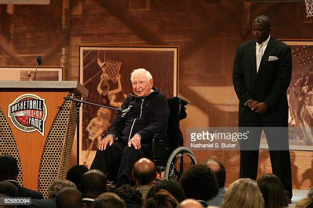 Inductee Bill Davidson speaks during the 2008 Hall of Fame Enshrinement Ceremony on September 5 2008 at the Basketball Hall of Fame in Springfield...
