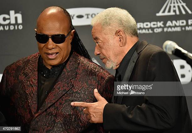 Inductee Bill Withers and Stevie Wonder attend the 30th Annual Rock And Roll Hall Of Fame Induction Ceremony at Public Hall on April 18 2015 in...